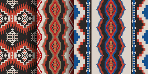 Photo sur Toile Style Boho Set of Aztec geometric seamless patterns. Native American Southwest prints. Ethnic design wallpaper, fabric, cover, textile, rug, blanket.