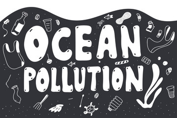 Ocean pollution vector doodle concept illustration with trash and plastic garbage.