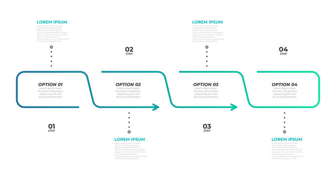 Timeline infographic template with arrows design. Vector eps10 illustration. Can be used for workflow layout, diagram, annual report, web design. Business concept with 4 options, steps or processes.