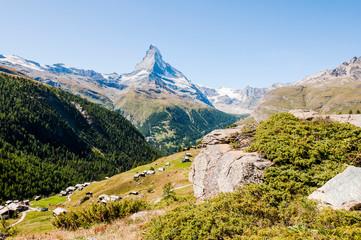 Zermatt, Findeln, Matterhorn, Sunnegga, Alpen, Wallis, Wanderweg, Weiler, Alm, Bergwiesen, Bergbauer, Sommer, Schweiz