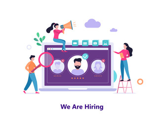 We are hiring. People looking for a job candidate.