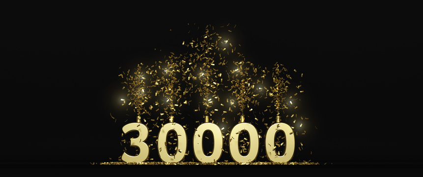 30 K followers thank you illustration dark background