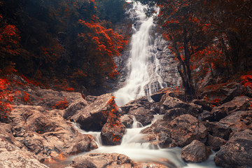 waterfall of Sarika National Park in autumn