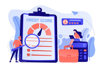 Tiny people analysts evaluating ability of prospective debtor to pay the debt. Credit rating, credit risk control, credit rating agency concept. Living coral bluevector isolated illustration
