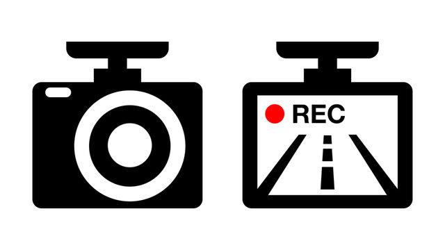 ドライブレコーダーのイラストアイコン画像素材白黒赤
