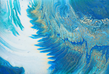Fotobehang Kristallen art photography of abstract marbleized effect background. turquoise, blue and gold creative colors. Beautiful paint.