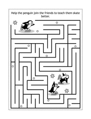 Winter or holidays themed maze game or activity page with skating penguins: Help the penguin join the friends and teach them to skate better.