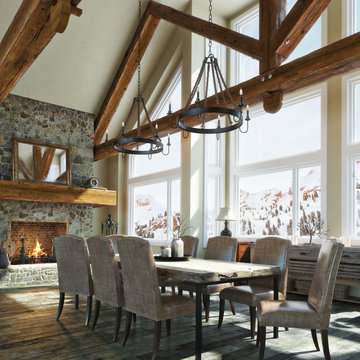 Luxurious open floor rustic cabin interior dinning room design with roaring stone fireplace and winter scenic background. Photo realistic 3d rendering