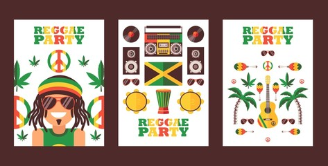 Reggae party invitation, vector illustration. Jamaican style music festival announcement. Simple flat design banner for reggae event