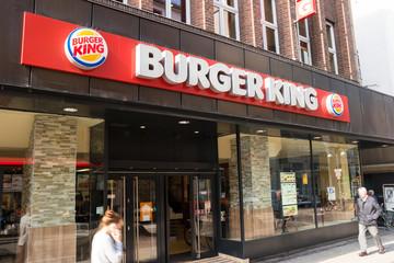 FRANKFURT, GERMANY MARCH, 2017: Burger King sign. Burger King, often abbreviated as BK, is a global chain of hamburger fast food restaurants,United States.