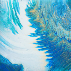 Foto auf Acrylglas Kristalle art photography of abstract marbleized effect background. turquoise, blue and gold creative colors. Beautiful paint.