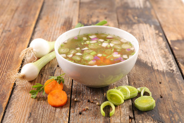 Wall Mural - vegetable broth, vegetable soup and ingredient