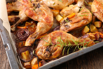 grilled chicken leg with vegetables