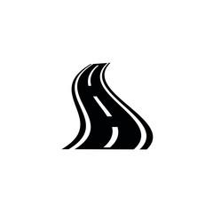 Road icon. black vector Road  sign
