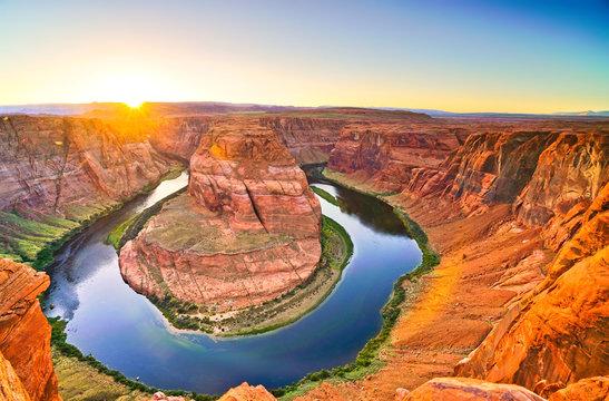 View of Horseshoe Bend at sunset in Arizona, USA.