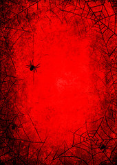 Wall Murals Red Halloween holiday bloody red grunge background with silhouettes of spider and webs