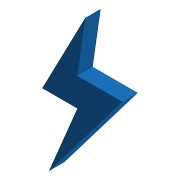 Blue energy bolt icon. Isometric of blue energy bolt vector icon for web design isolated on white background