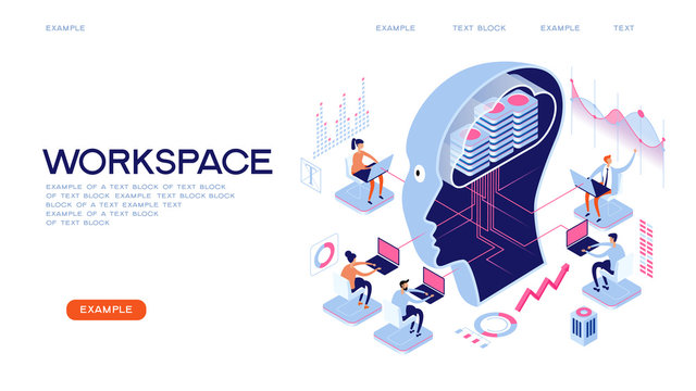 Workspase concept. Deep learning. Big data AND artificial intelligence. People interact with artificial intelligence. 3d vector isometric illustration.