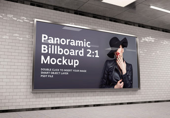 2:1 Aspect Ratio Panoramic Billboard in Underground Mockup