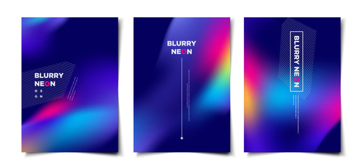 Set of abstract blurry neon glow background layout, cover, poster, wallpaper design template