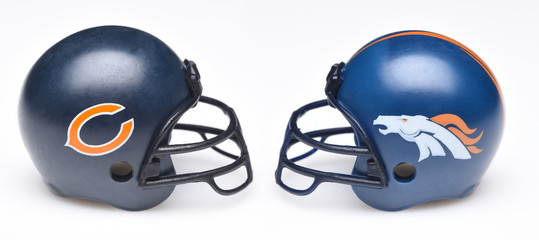 IRVINE, CALIFORNIA - SEPTEMBER 6, 2019: Football helmets of the Chicago Bears vs Denver Broncos, Week 2 opponents in the NFL 2019 Season