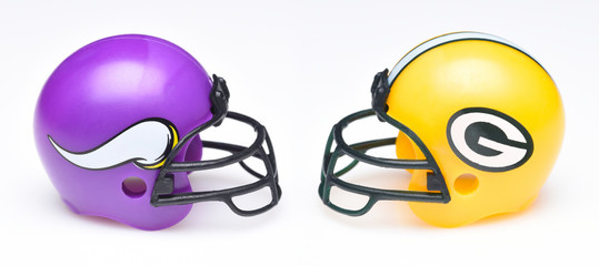 IRVINE, CALIFORNIA - SEPTEMBER 6, 2019: Football helmets of the Minnesota Vikings vs Green Bay Packers, Week 2 opponents in the NFL 2019 Season