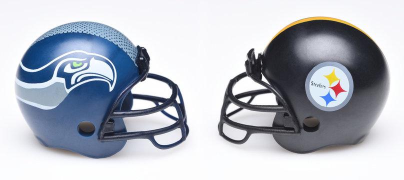 IRVINE, CALIFORNIA - SEPTEMBER 6, 2019: Football helmets of the Seattle Seahawks vs Pittsburgh Steelers, Week 2 opponents in the NFL 2019 Season