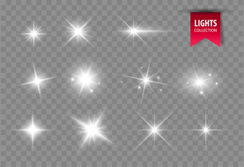 Shine glowing stars. Vector lights Fotomurales