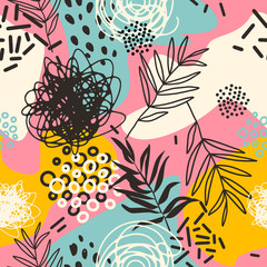 Creative contemporary trendy floral art seamless pattern