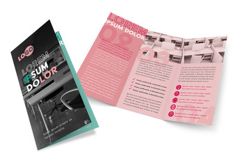 Trifold Brochure Layout with Green and Pink Accents