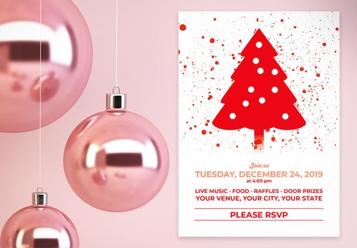 Holiday Party Card Layout with Red Elements