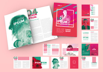 Magazine Layout with Green and Pink Elements