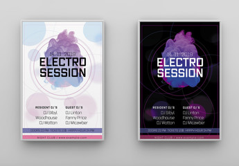 Techno Poster Layout with Purple Accents and Abstract Elements