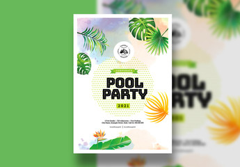 Event Poster Layout with Tropical Plant Illustration Elements