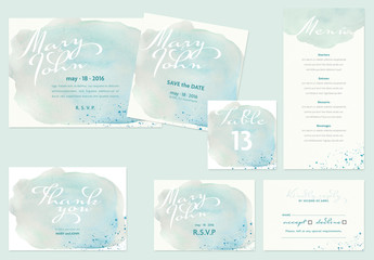 Wedding Layout Set with Watercolor Elements