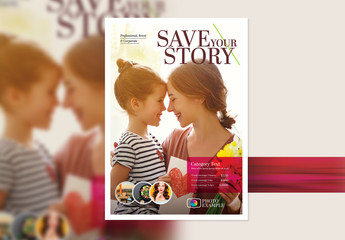 Poster Layout with a Magenta Overlay Element