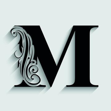 letter M. Black flower alphabet.  Beautiful capital letters.