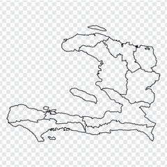 Blank map Haiti. High quality map of  Haiti with provinces on transparent background for your web site design, logo, app, UI. Stock vector.  EPS10.