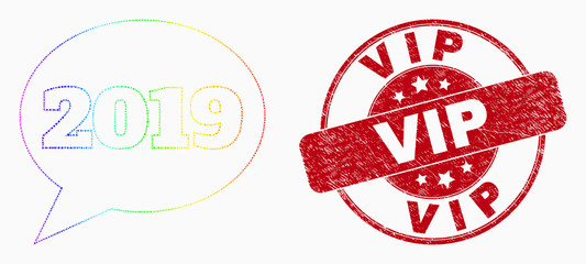 Dotted spectral 2019 message balloon mosaic pictogram and Vip seal stamp. Red vector round textured stamp with Vip caption. Vector collage in flat style.