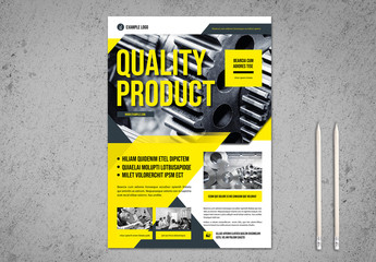 Business Flyer Layout with Yellow and Dark Marine Blue  Accents
