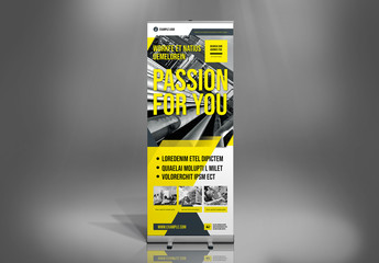 Roll-Up Banner Layout with Yellow and Dark Blue Accents