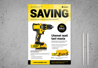 Product Flyer Layout with Yellow Accents