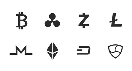 Cryptocurrency Icons. Bitcoin. Vector illustration. Fototapete