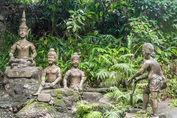 Buddha statues at Tar Nim Waterfall & Secret Magic Garden on Koh Samui, in Surat Thani Thailand.