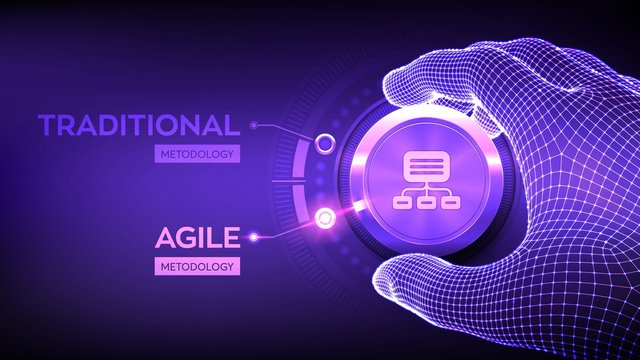 Agile software development methodology concept. Wireframe hand turning a knob and selecting Agile mode. Digital technology, big data concept. Flexible developing process. Vector illustration.