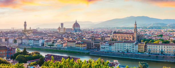 Poster de jardin Florence Fabulous spring panorama of Florence with Cathedral of Santa Maria del Fiore (Duomo) and Basilica of Santa Croce. Colorful sunset in Tuscany, Italy, Europe. Traveling concept background.