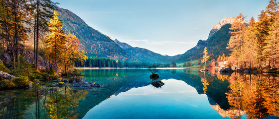 Fantastic autumn panorama on Hintersee lake. Colorful morning view of Bavarian Alps on the Austrian border, Germany, Europe. Beauty of nature concept background.