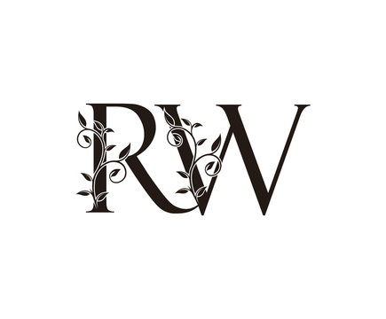 Initial letter R and W, RW, vintage Logo Icon, classy black letter monogram logo icon suitable for boutique,restaurant, wedding service, hotel or business identity.