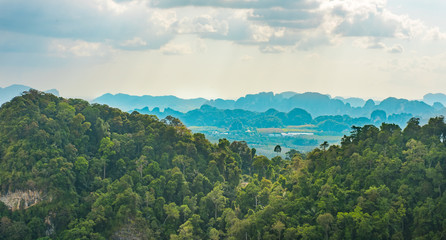 scenic view to rain forest in Krabi Thailand