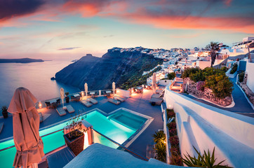 Poster Mediterraans Europa Fantastic evening view of Santorini island. Picturesque spring sunset on famous Greek resort Fira, Greece, Europe. Traveling concept background. Artistic style post processed photo.